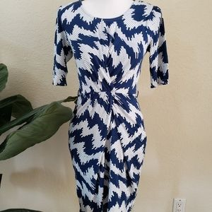 Sunny Girl Blue White Pattern Fitted Dress NWT